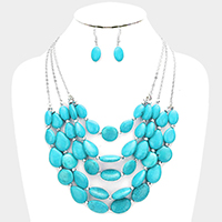 Multi Strand Bead Bib Necklace