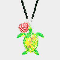 Beaded Rhinestone Turtle Shell Pendants Long Necklace