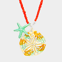 Beaded Rhinestone Sand Dollar Starfish Pendants Necklace