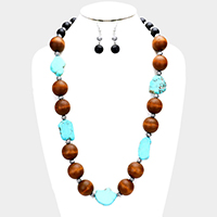 Wood Ball Geometric Turquoise Long Necklace