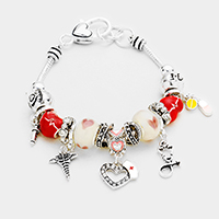 Multi Bead Heart Angel Wings Charms Bracelet