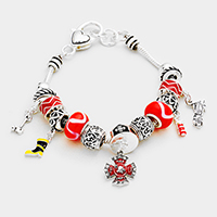 Multi Bead Fire Dept Shield Charms Bracelet