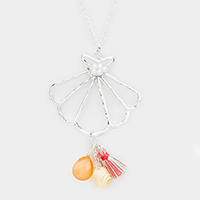 Metal Shell Drop Tassel Shell Charms Long Necklace