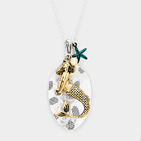 Mermaid Starfish Spoon Pendant Long Necklace