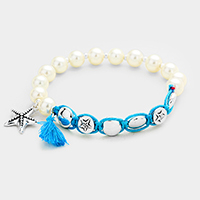 Pearl Beaded Starfish Tassel Charms Stretch Bracelet