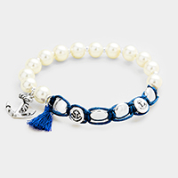 Pearl Beaded Anchor Tassel Charms Stretch Bracelet