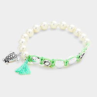 Pearl Beaded Turtle Tassel Charms Stretch Bracelet