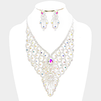 Draped Pave Crystal Rhinestone Necklace