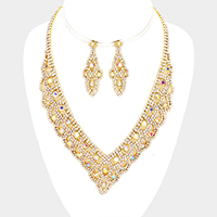 Draped Pave Crystal Rhinestone V Collar Necklace
