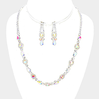 Floral Pave Crystal Rhinestone Necklace