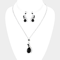 Pave Crystal Rhinestone Teardrop Accented Necklace
