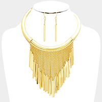 Metal Chain Bar Fringe Necklace