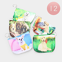 12PCS - Puppy Print Zipper Coin Purses With Key Chain