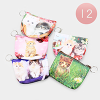 12PCS - Cat Print Zipper Coin Purses with Key Chain