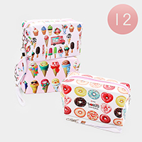 12PCS - Donuts Ice Cream Printed Cosmetic Pouches