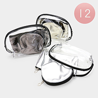 12PCS - Clear Bling Triple Cosmetic Pouches