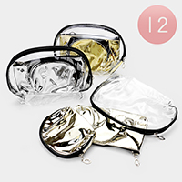 12PCS - Clear Glossy Triple Cosmetic Pouches