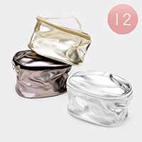 12PCS - Inside Mirror Bling Cosmetic Pouch Bags