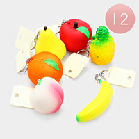 12PCS - Fruits Stress Reliever Fun Squishies Key Chains