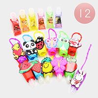 12PCS Characters Fruits Silicone Hand Sanitizer Holder