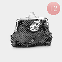 12PCS - Reversible Sequin Coin Clasp Purses
