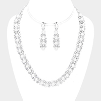 Crystal Rhinestone Pearl Cluster Necklace