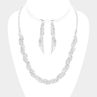 Braided Pave Crystal Rhinestone Necklace