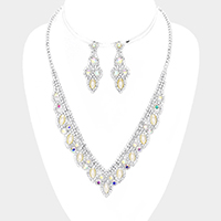 Pave Crystal Rhinestone Pearl Accented Necklace