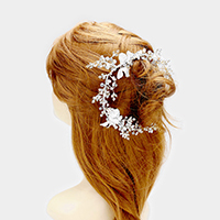 Stone Flower Leaf Pearl Bun Wrap Headpiece