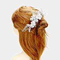 Pave Triple Flower Leaf Cluster Hair Comb