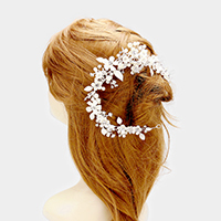 Stone Flower Leaf Cluster Pearl Bun Wrap Headpiece