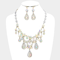 Marquise Glass Crystal Teardrop Dangle Necklace / Head Chain
