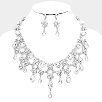 Draped Marquise Glass Crystal Evening Necklace / Head Chain