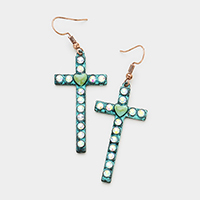 Stone Vintage Cross Dangle Earrings