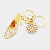 Crystal Pave Stiletto Heel Heart Charm Key Chain