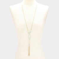 Multi Glass Beaded Drop Chain Tassel Long Necklace