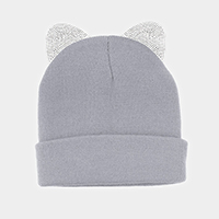 Crystal Rhinestone Embellished Cat Ears Beanie