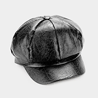 Faux Leather Cabby Hat