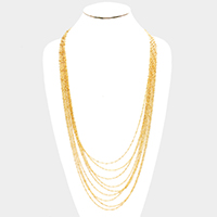 Multi Strand Metal Chain Bib Long Necklace