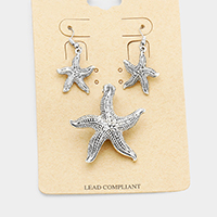 Antique Vintage Metal Starfish Magnetic Pendant Set