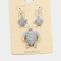 Antique Vintage Metal Turtle Magnetic Pendant Set