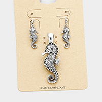 Antique Vintage Seahorse Turtle Magnetic Pendant Set