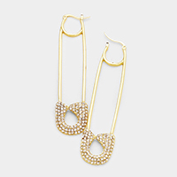 Oversized Pave Safety Pin Catch Earrings