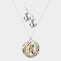 Anchor Dolphin Metal Round Pendant Necklace