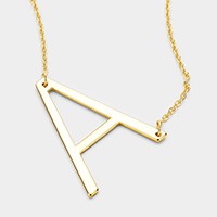 'A' Monogram Metal Pendant Necklace