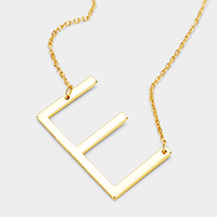 'E' Monogram Metal Pendant Necklace