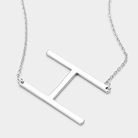 'H' Monogram Metal Pendant Necklace