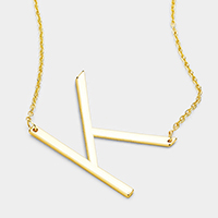 'K' Monogram Metal Pendant Necklace