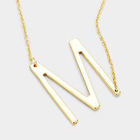 'M' Monogram Metal Pendant Necklace