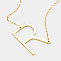 'R' Monogram Metal Pendant Necklace